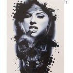 Woman & Skull Model Temporary Tattoo