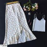 Women's Slit Floral Pattern Cream Midi Skirt