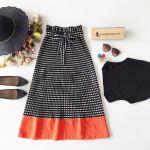 Women's Checkered Black Midi Skirt