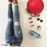 Women's Laser Cut Blue Jeans