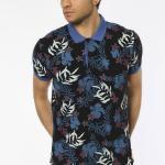 Men's Polo Collar Printed Blue Slim Fit T-shirt