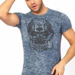 Men's Collarless Printed Blue T-shirt