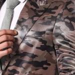 Men's Surplice Neckline One Button Patterned Jacket