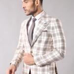 Men's Surplice Neckline Single Button Beige Jacket