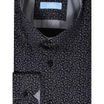 Men's Long Sleeves Patterned Black Shirt