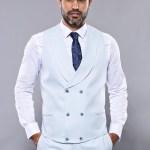 Men's Patterned Ice Blue Formal Suit Set