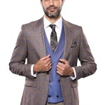 Checkered Brown Formal Suit Set