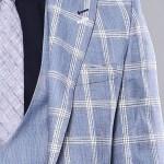 Men's Plaid Light Blue Formal Suit Set
