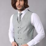 Men's Striped Green Formal Suit Set