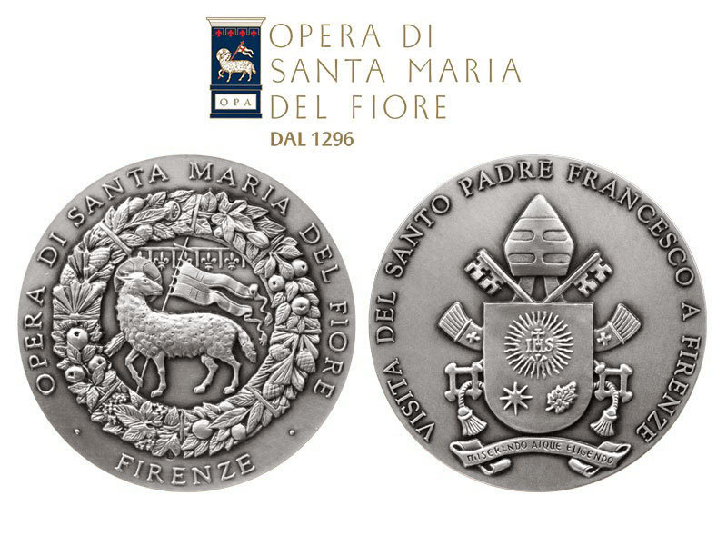 medaglia commemorativa della visita di Papa Francesco a Firenze