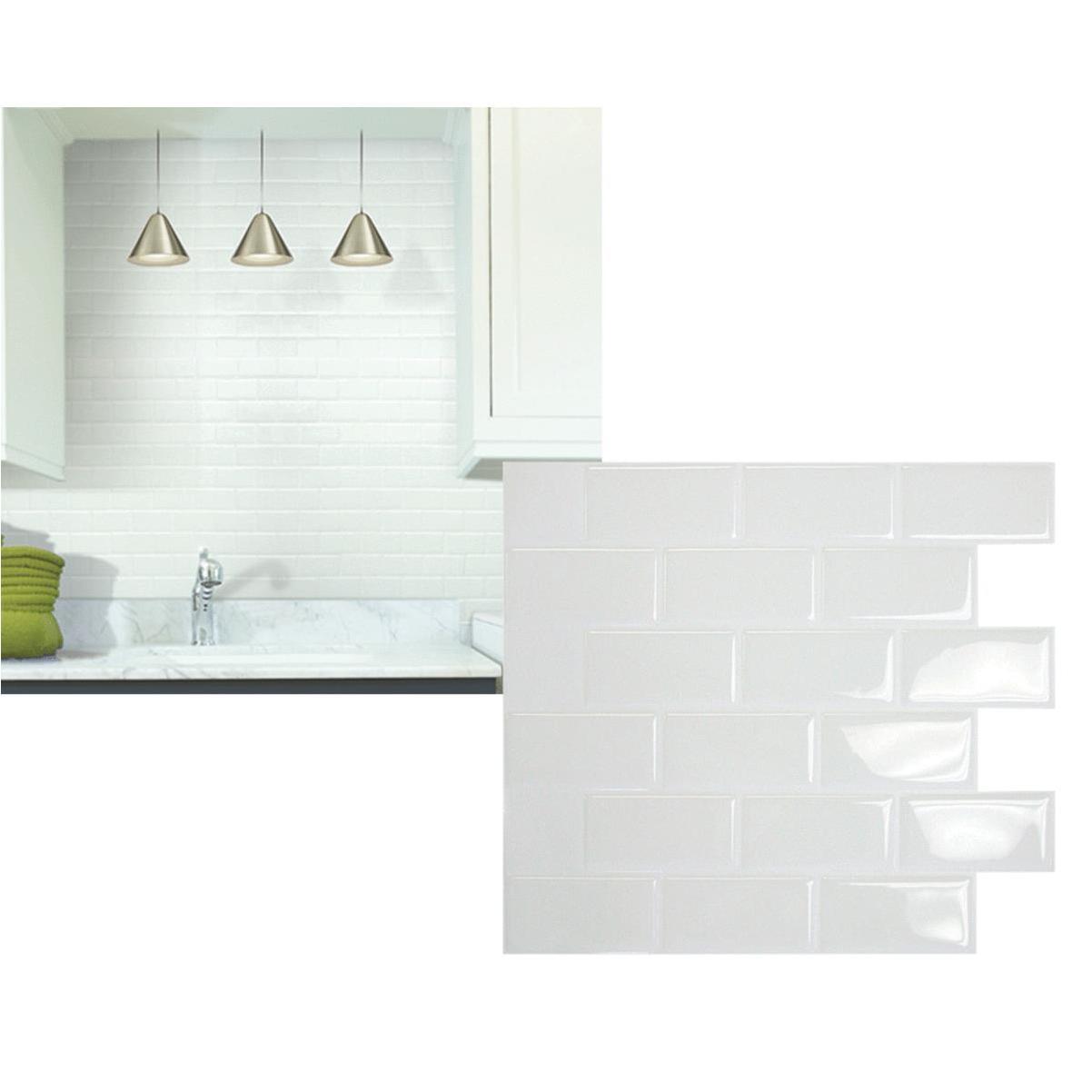 smart tiles 10 95 in x 9 70 in glass like plastic backsplash peel stick white subway tile