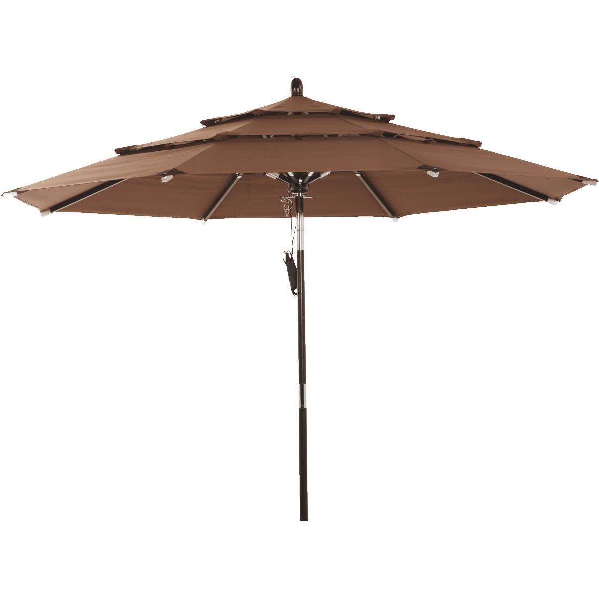 https bloomerhardware com products 800703 outdoor expressions 9 ft 3 tier tiltpulley brown patio umbrella