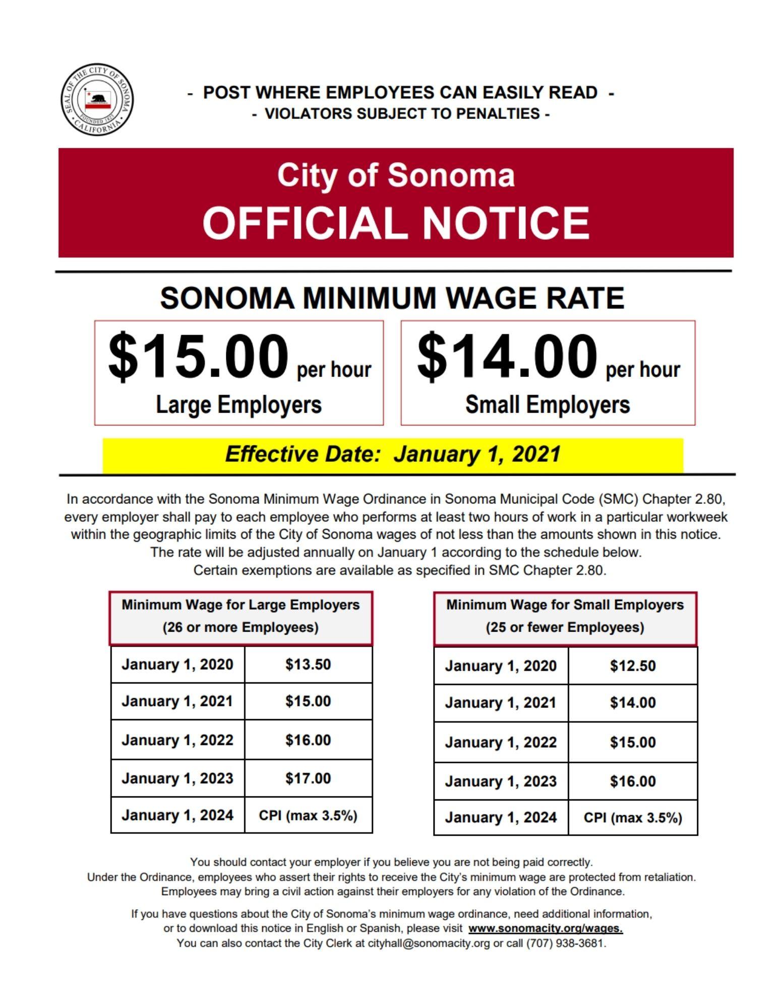 minimum wage study city of sonoma