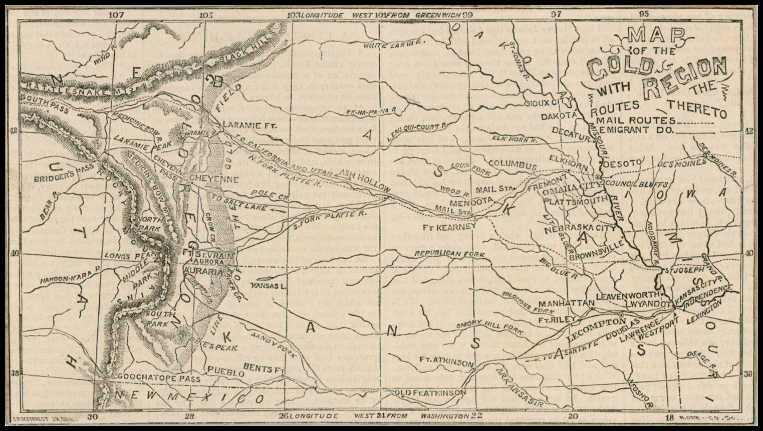 Map Of The Gold Region With The Routes Thereto Colorado