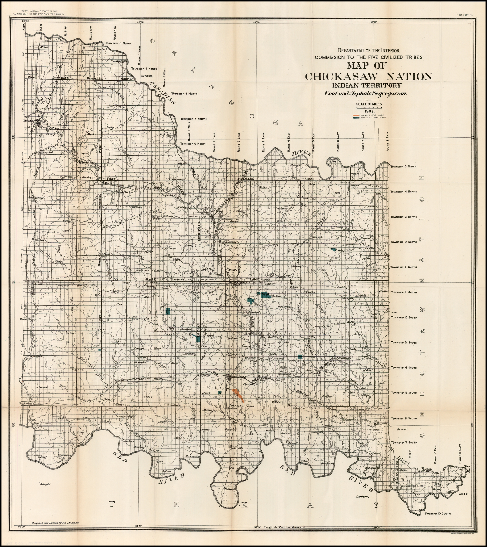 Map Of Chickasaw Nation Indian Territory Coal And
