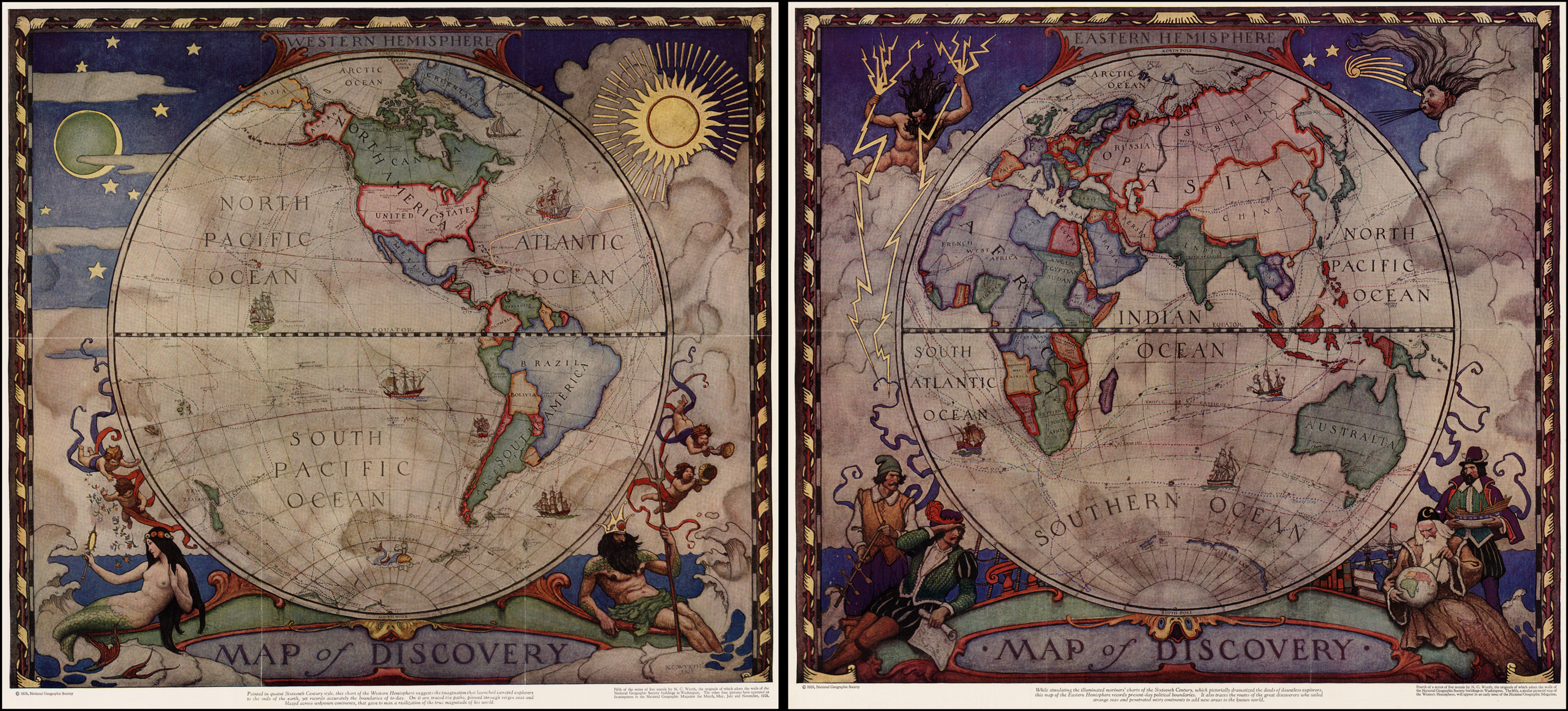 Map Of Discovery Eastern Amp Western Hemisphere Maps By N C