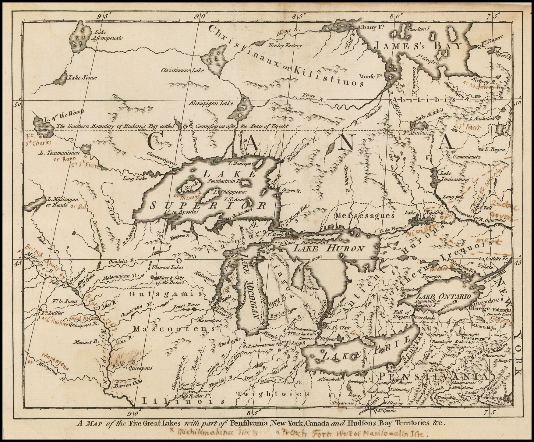 A Map Of The Five Great Lakes With Part Of Pensilvania