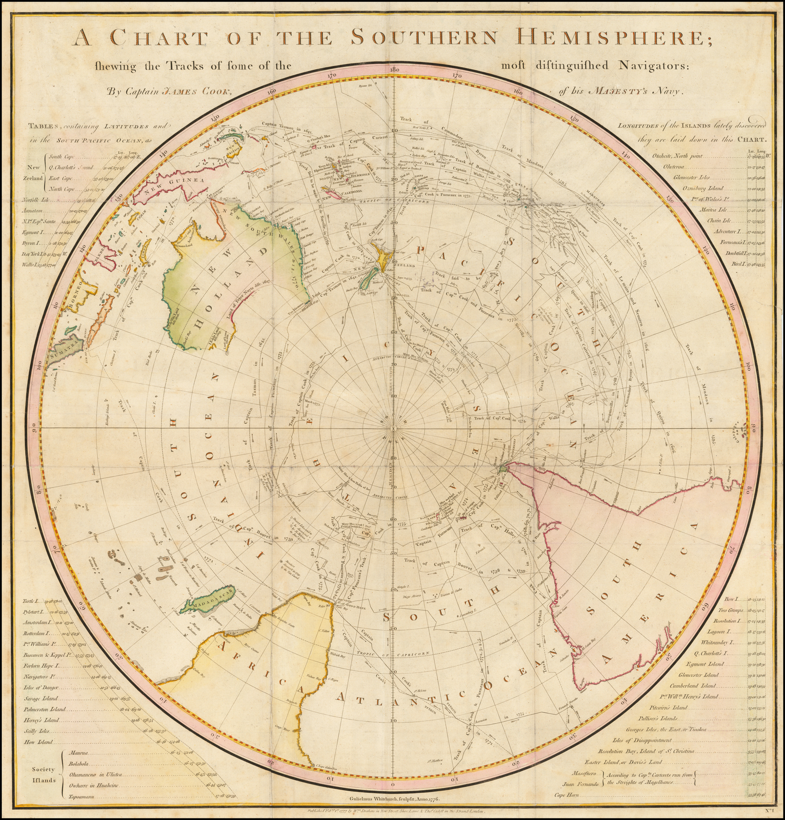 A Chart Of The Southern Hemisphere Shewing The Tracks Of