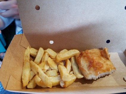 Really good fish and chips in London in the borough market.