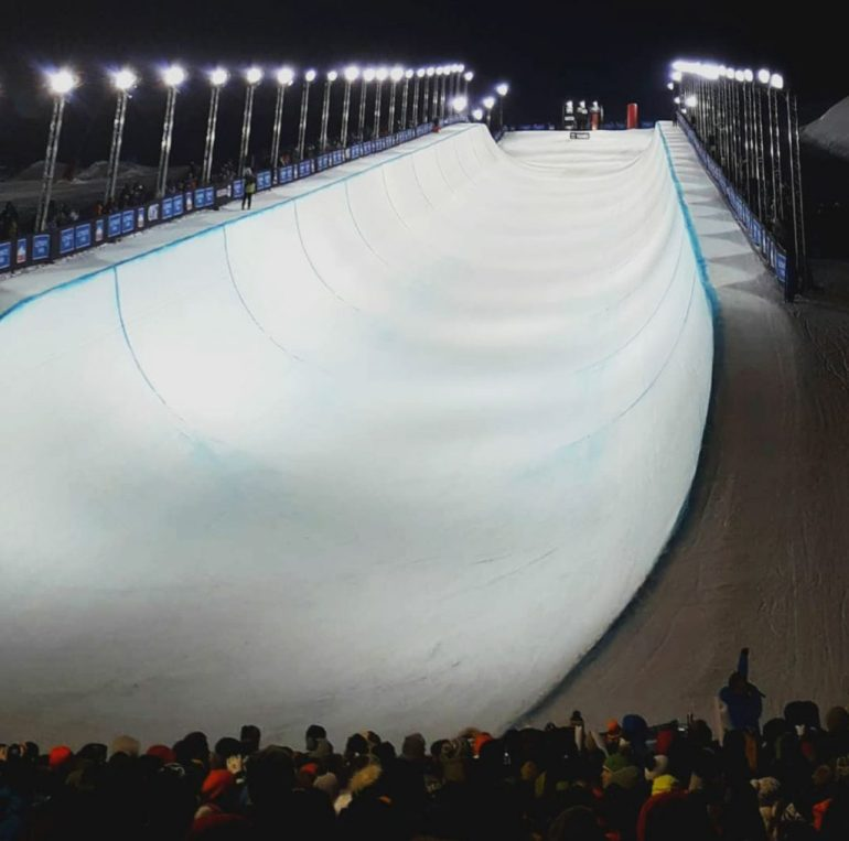 large ski and snowboard halfpipe at competition in tignes