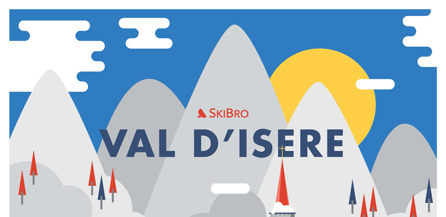 Val d'Isere banner - cartoon with mountains and sun