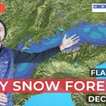 Snow forecast weatherman in front of map of the Alps
