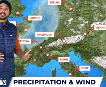 Man stands in front of snow and weather forecast map