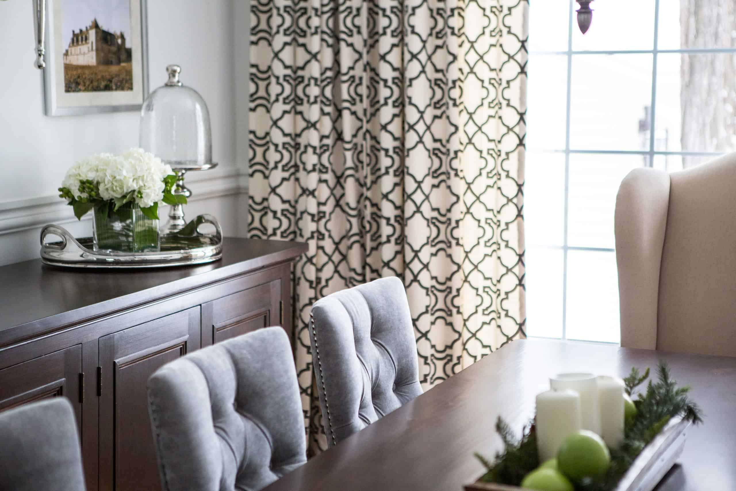 Patterned curtains inside the dining room
