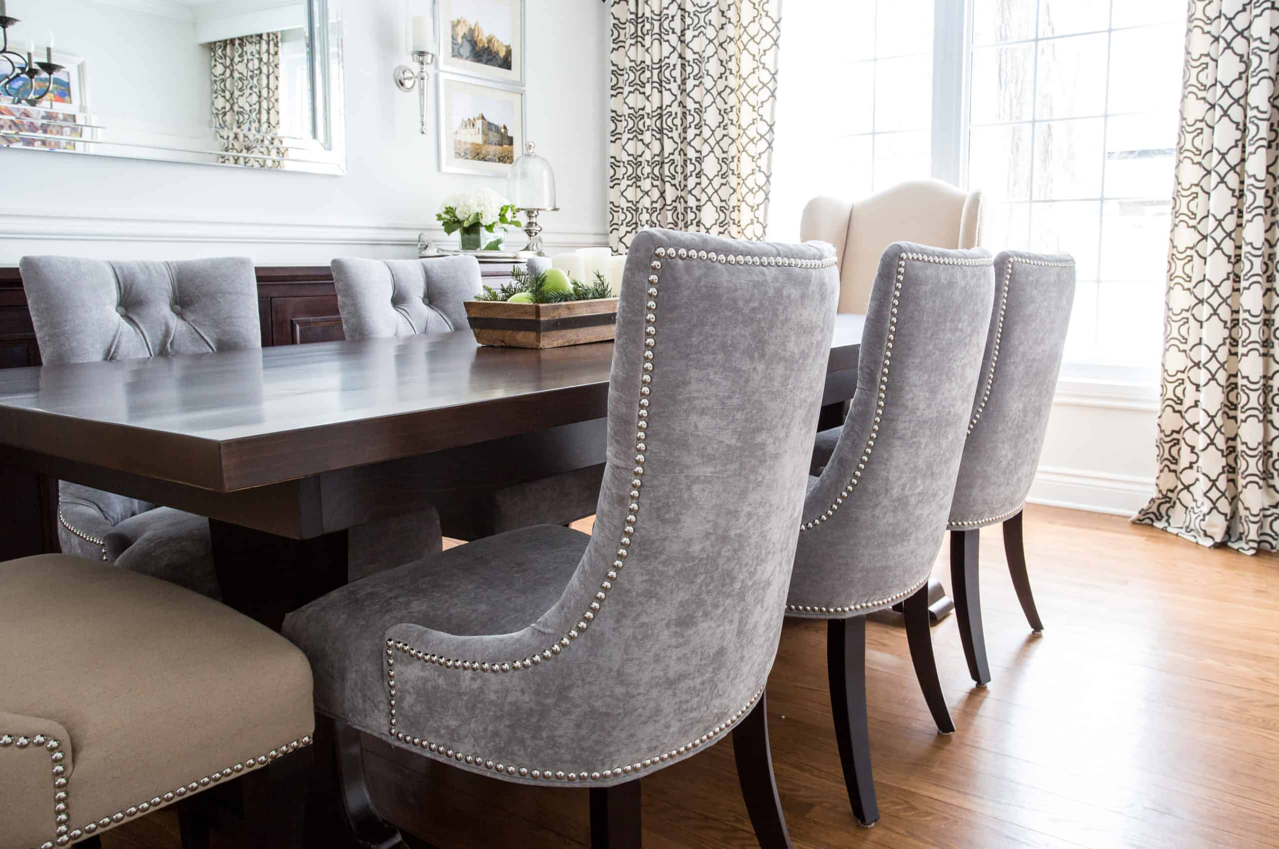 Gray chairs inside a modern living room