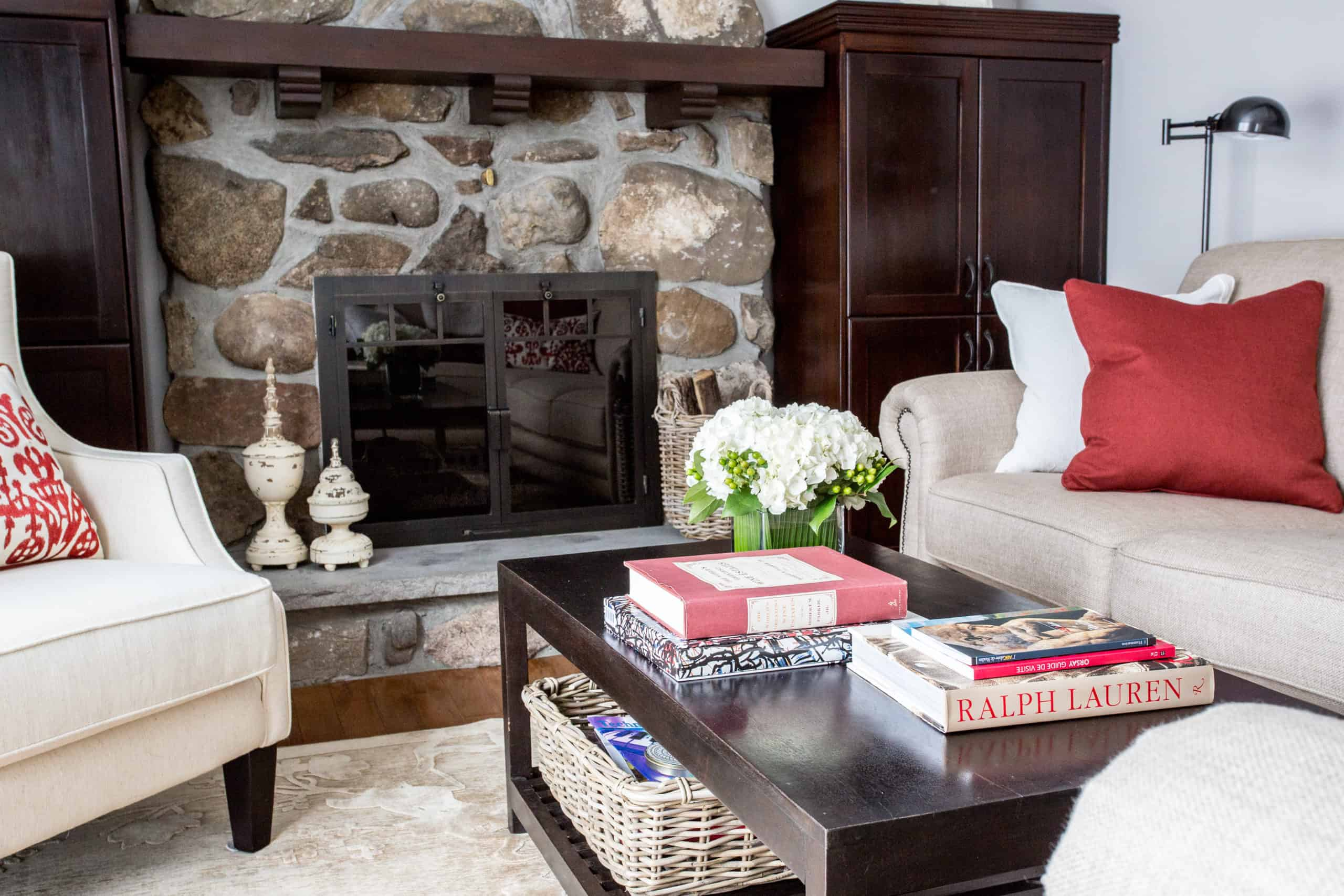Modern living room with a focus on the stone fireplace