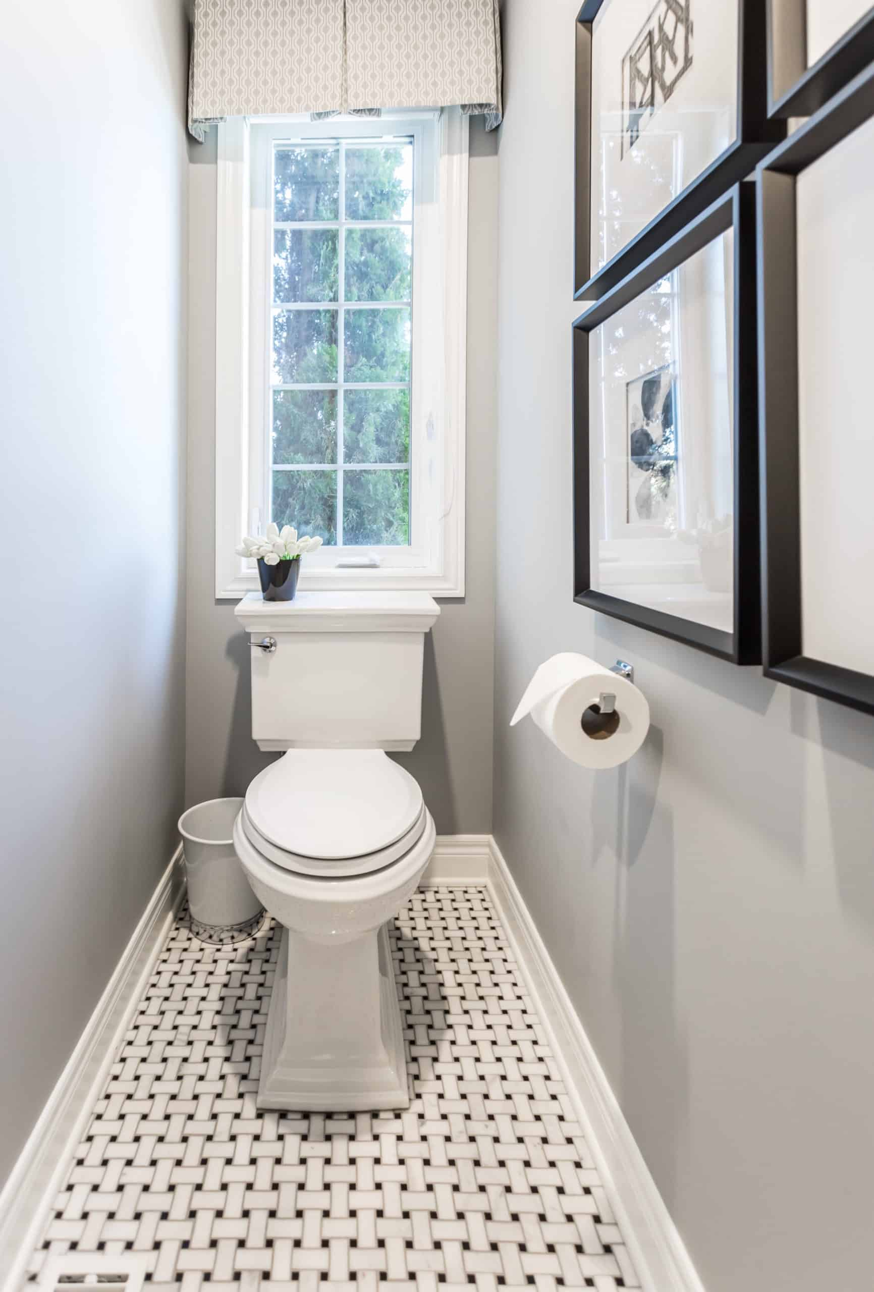 Toilet at the end of a tiny half-bath