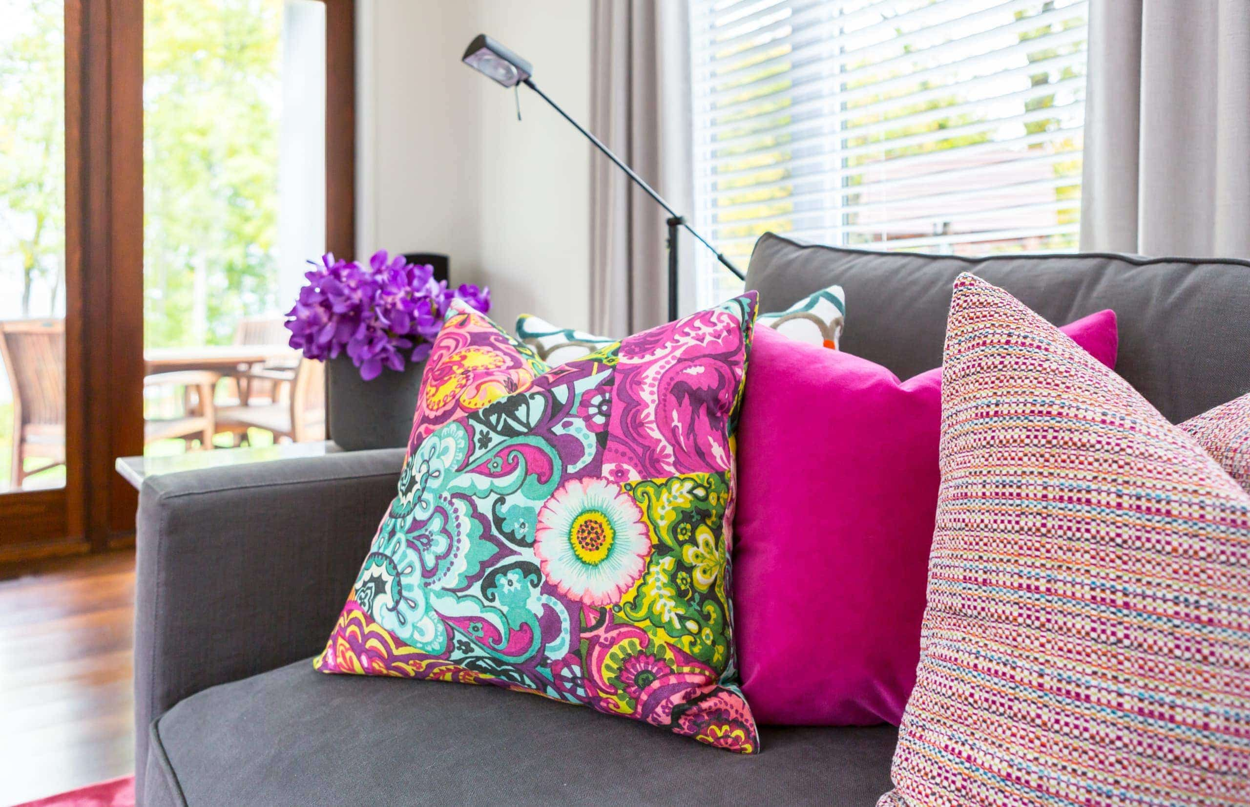 Colorful pillow with a floral pattern