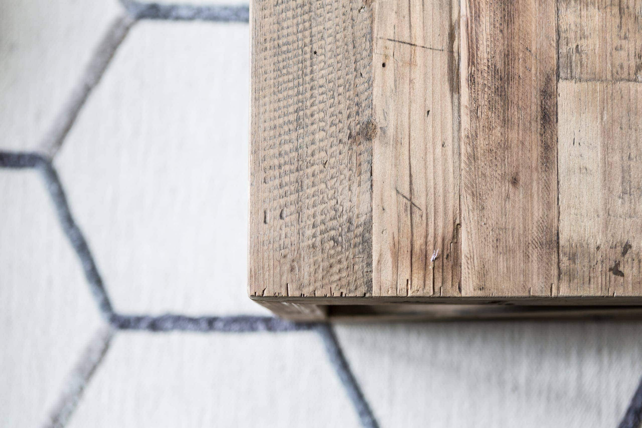Wooden table made out of planks