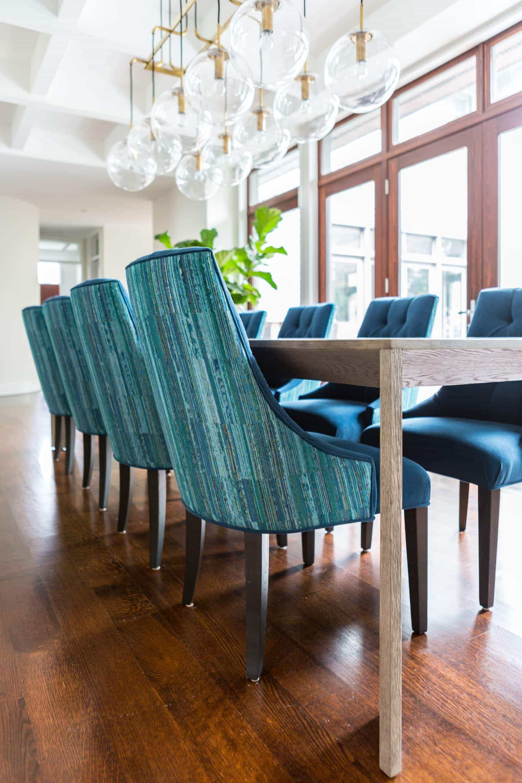 Blue chairs for the dining room table
