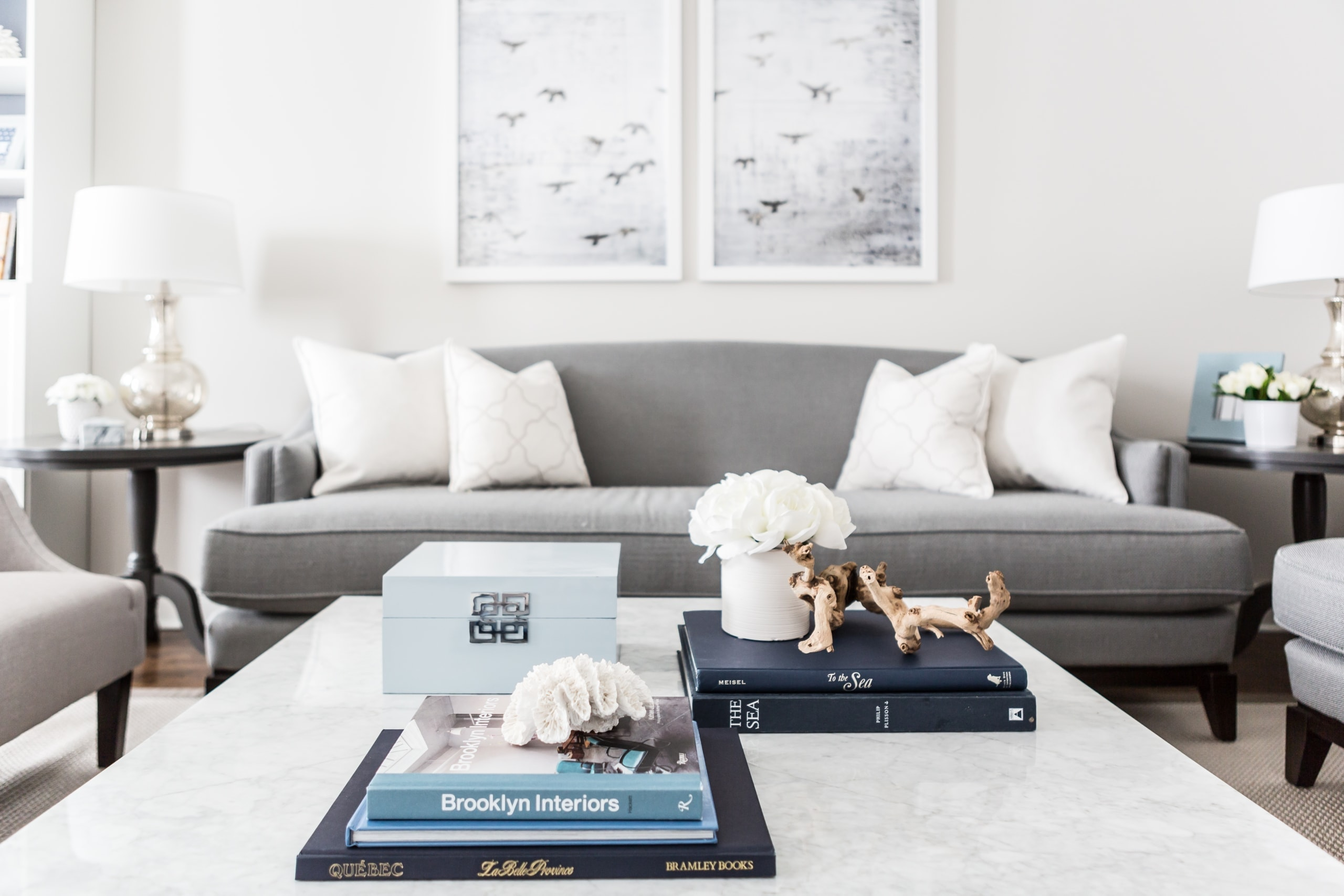 Bright living room with a focus on the decoration on the table