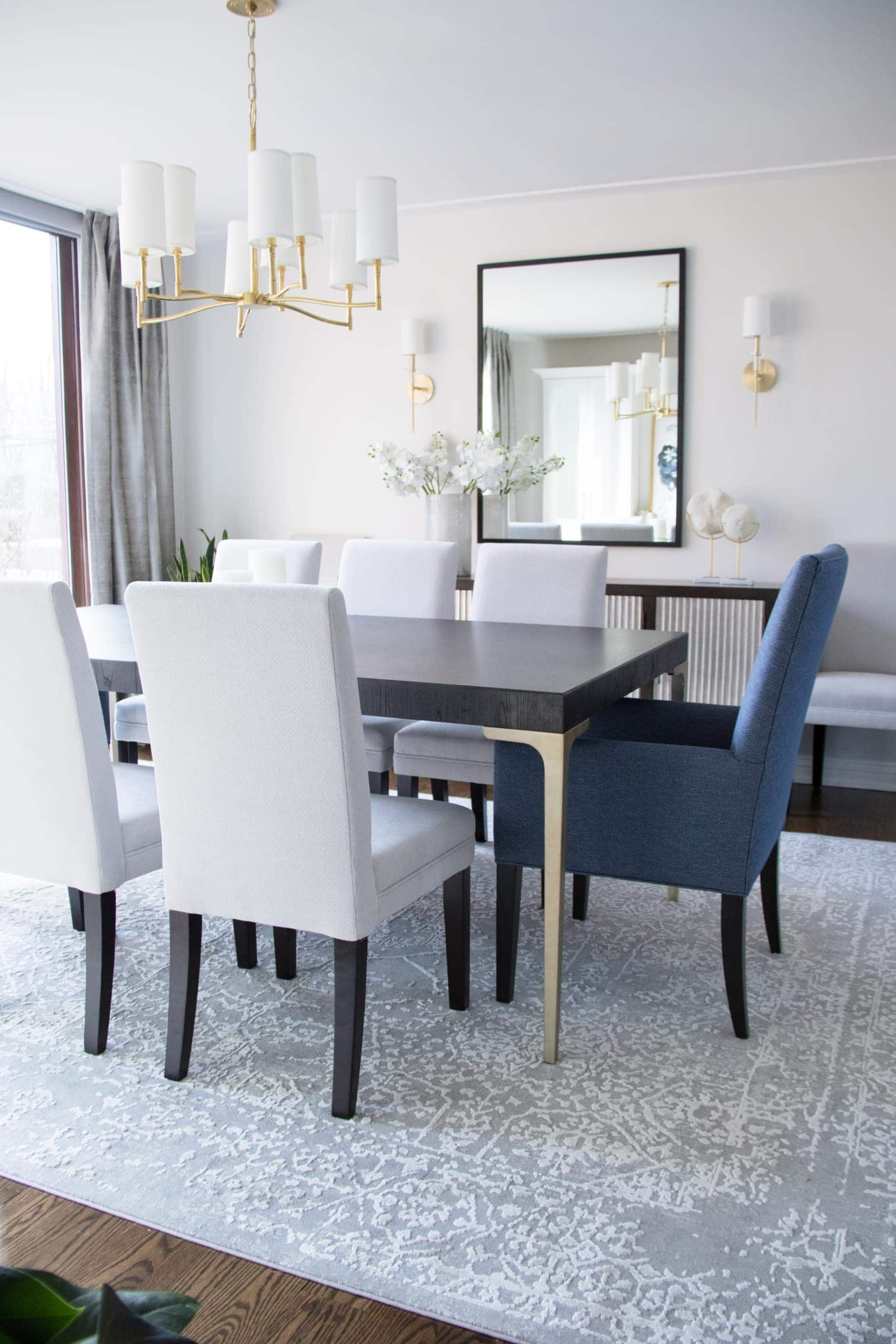 Rectangular dining room table table within a modern dining room