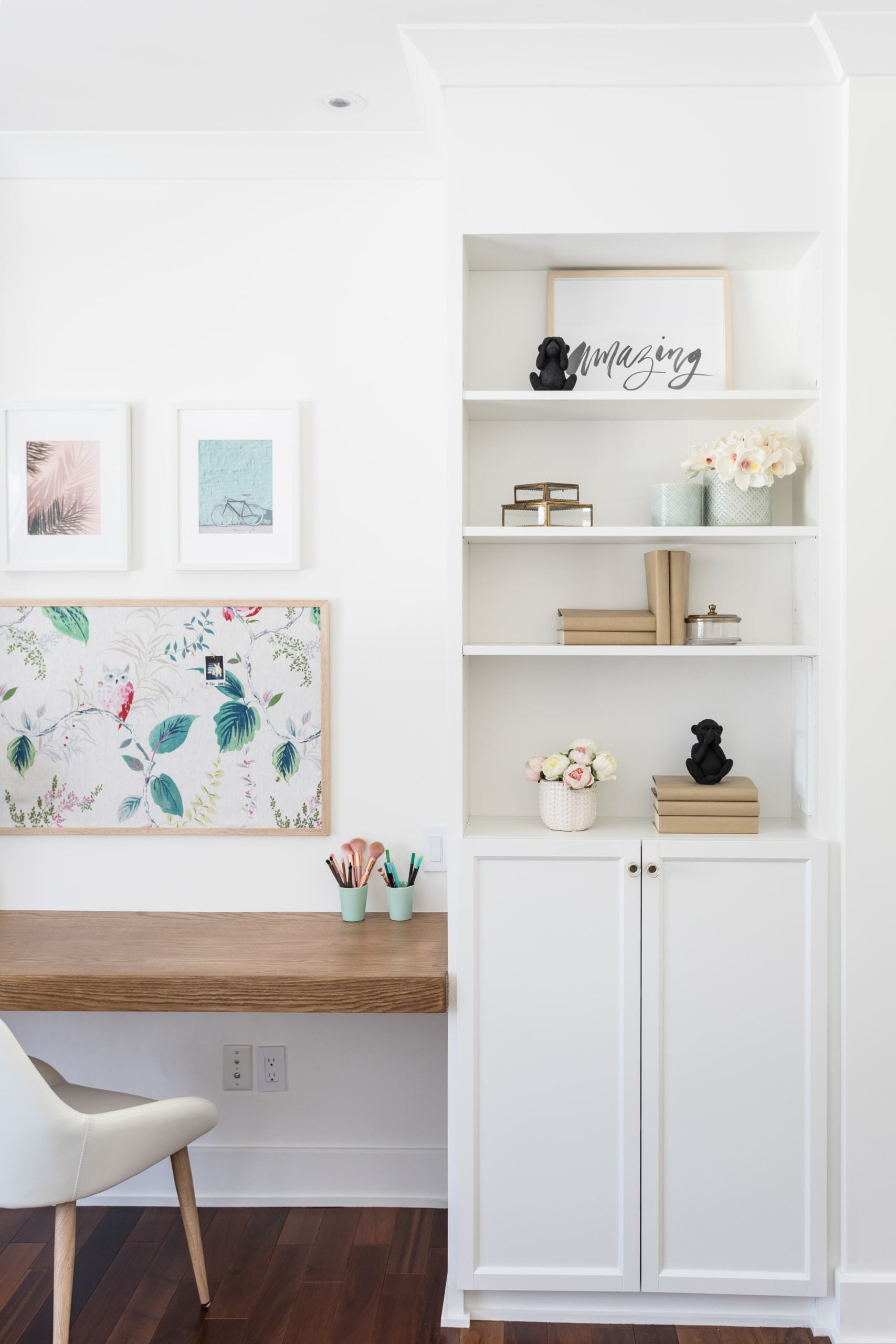 Bright workspace with an assortment of items on nearby shelves