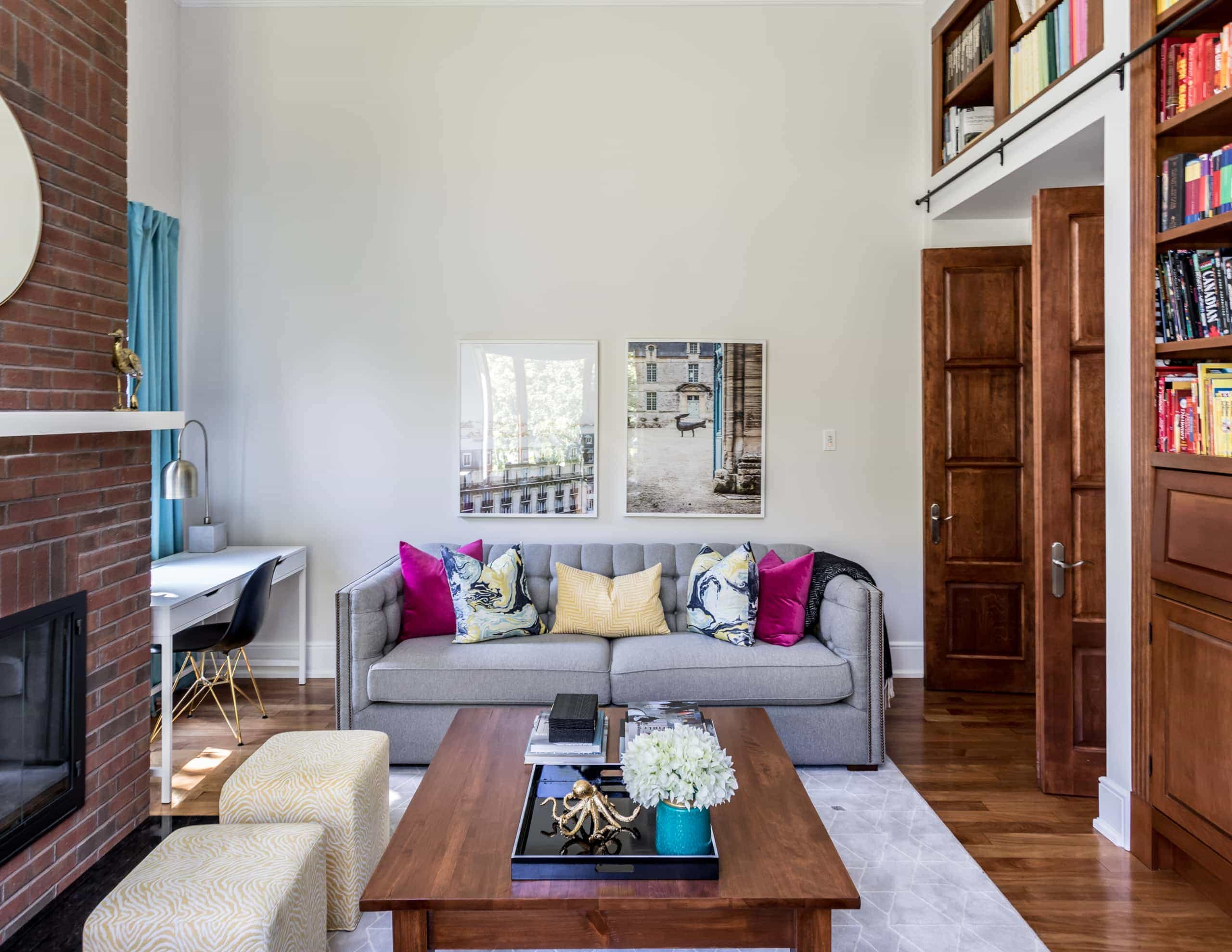 Large living room with a vibrant wooden coffee table