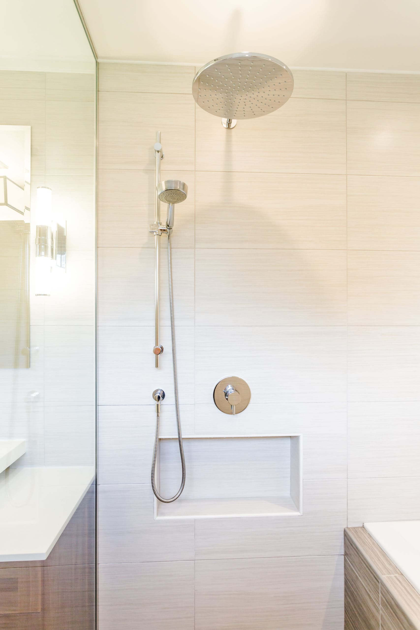 Bright shower with a large shower head