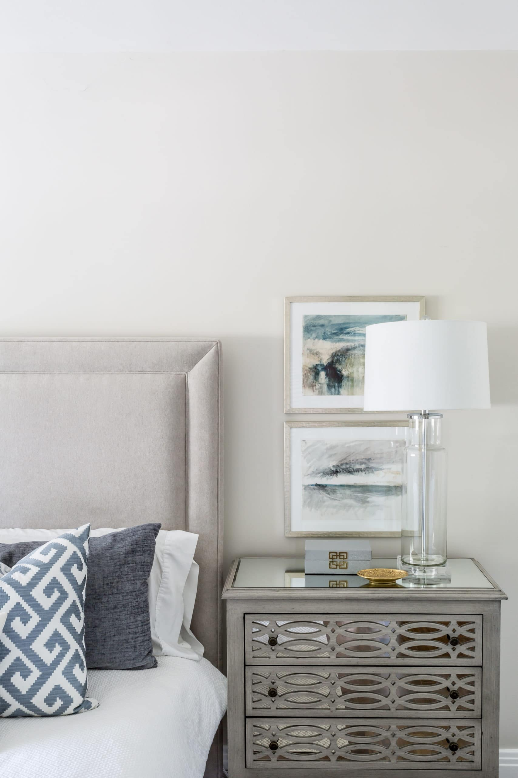 Fancy gray night stand in a master bedroom