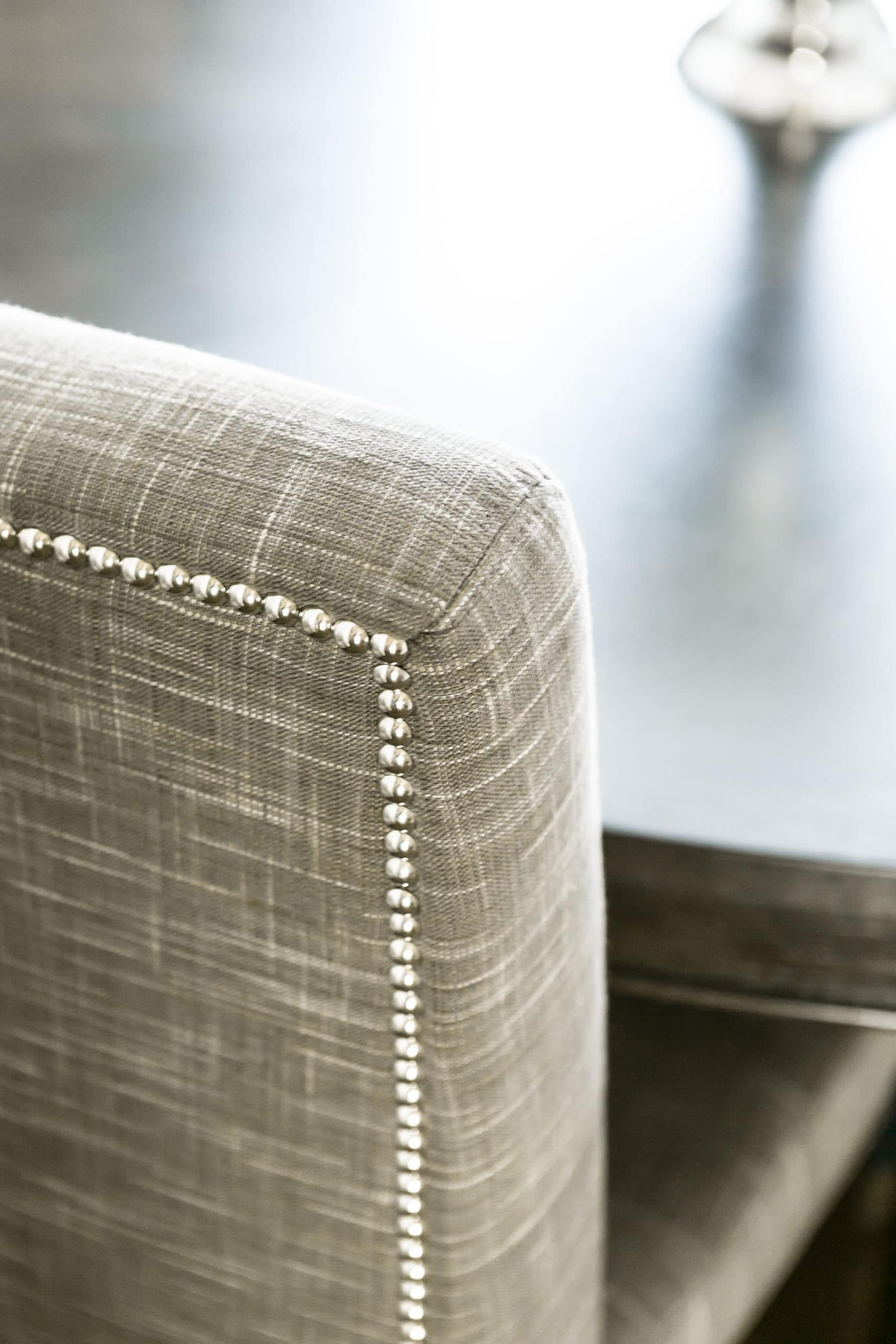 The back cushion of a dining room chair