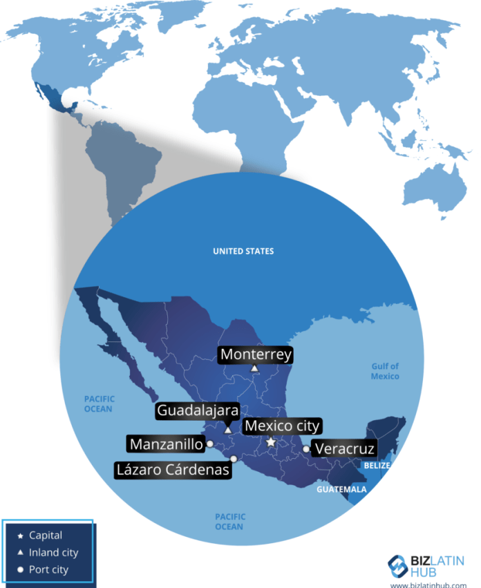 Mexico's map map and some of its main cities