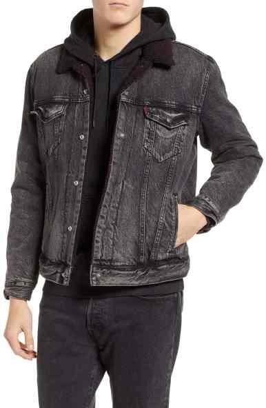 x Justin Timberlake Faux Shearling Collar Trucker Jacket