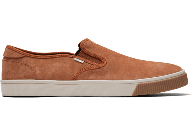 Toms Carmel Brown Pig Nubuck Mens Baja Slipon shoes side angle