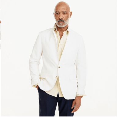 Ludlow Slim-fit unstructured suit jacket in white cotton-linen