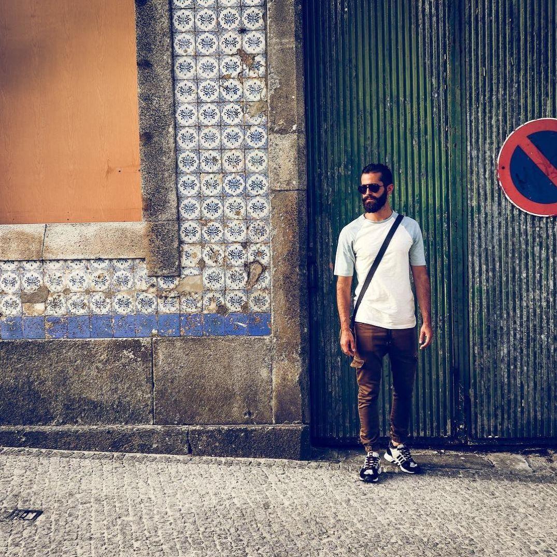 Michael Checkers (aka MikeCheck) in Viana do Castelo, Portugal on cobble stone streets