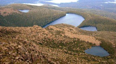 Picton Lakes, from the summit of Mt. Picton, SW Tasmania, Southwestern Tasmania