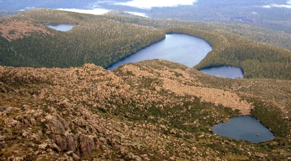 Picton Lakes, from the summit of Mt. Picton, SW Tasmania, Southwestern Tasmania