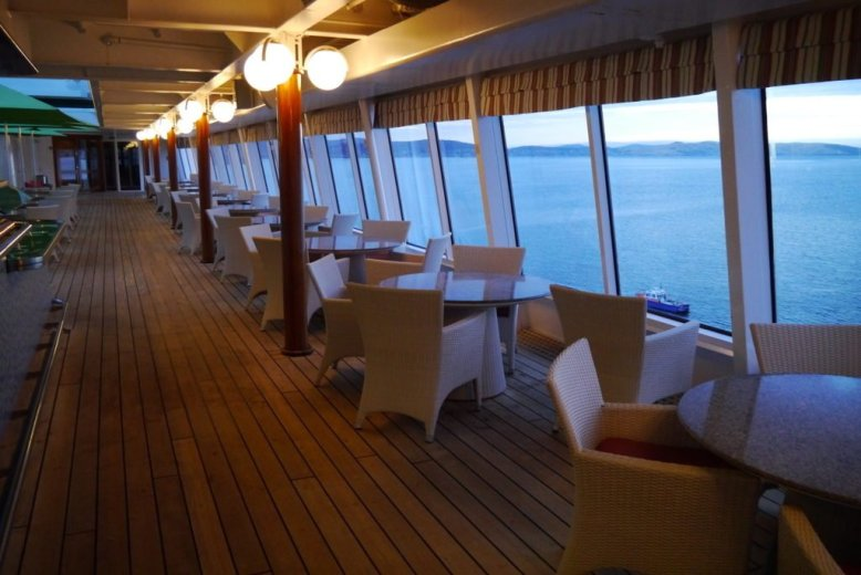 On the upper deck of the cruise ship