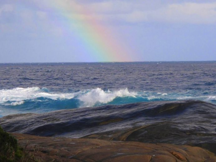 A midday Southern Ocean rainbow on the South Coast of Western Australia